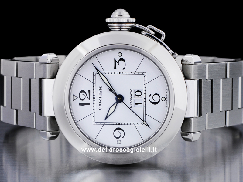 Cartier Pasha C Gran Data W31055m7 Quadrante Bianco Arabi