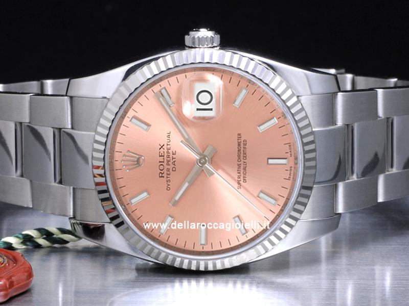 Rolex Date 115234 Oyster Quadrante Rosa Della Rocca