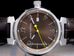 Louis Vuitton Tambour Quartz Grande Q11115 Quadrante Marrone Indici e Arabi