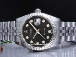 Rolex Datejust Medio Lady 31 178274 Jubilee Quadrante Nero Jubilee Diamanti