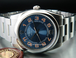 Rolex Air-king 114200 Oyster Quadrante Blu Arabi Arancio