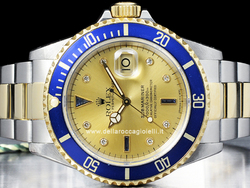 Rolex Submariner Data 16613 Quadrante Champagne Diamanti e Zaffiri