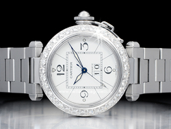 Cartier Pasha C Gran Data W31044M7 Quadrante Bianco Ghiera Diamanti