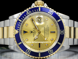 Rolex Submariner Data 16613 Quadrante Sultan Champagne Diamanti e Zaffiri