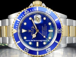 Rolex Submariner Data 16613 Oyster Quadrante Blu Epoca