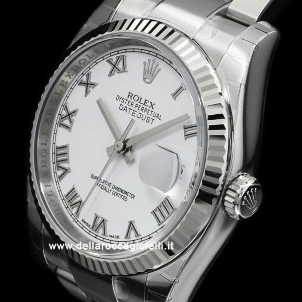 Rolex Datejust 116234 Oyster Bracelet White Roman Dial