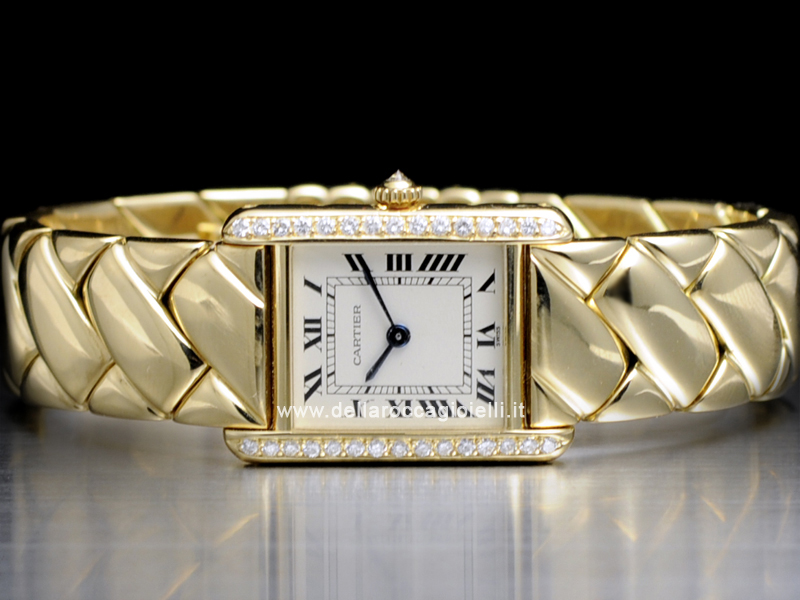 Cartier Tank Louis Ladies Gold and Diamonds Watch
