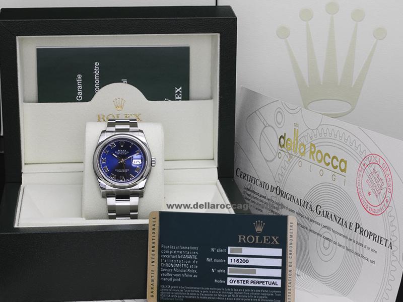 Rolex Datejust 116200 Oyster Bracelet Blue Roman Dial