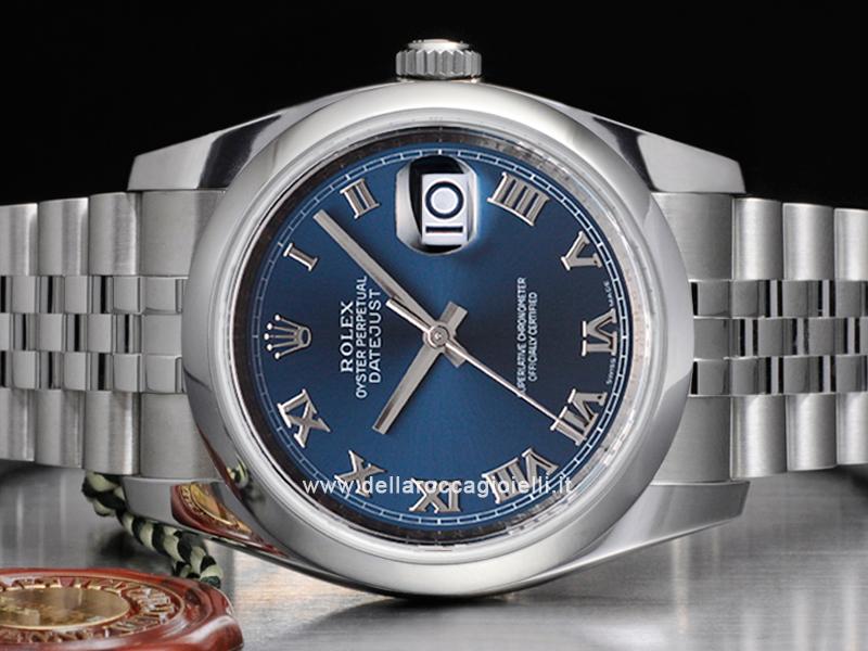 Vintage Tudor Watches >> Rolex Datejust 116200 Jubilee Bracelet Blue Roman DIal :: Della Rocca Gioielli