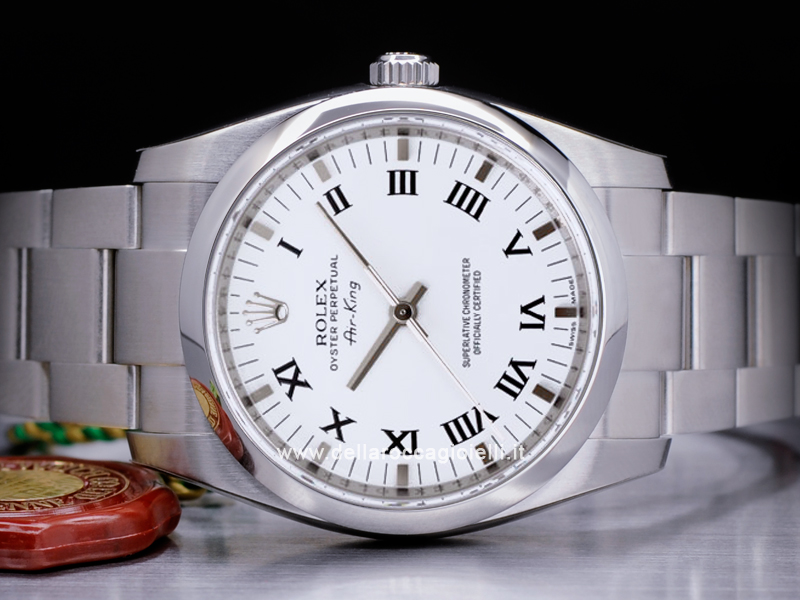 Rolex Air King 114200 Oyster Bracelet White Roman Dial