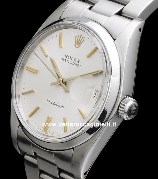 rolex oysterdate precision 6694 oyster bracelet white pearl dial della rocca gioielli. Black Bedroom Furniture Sets. Home Design Ideas