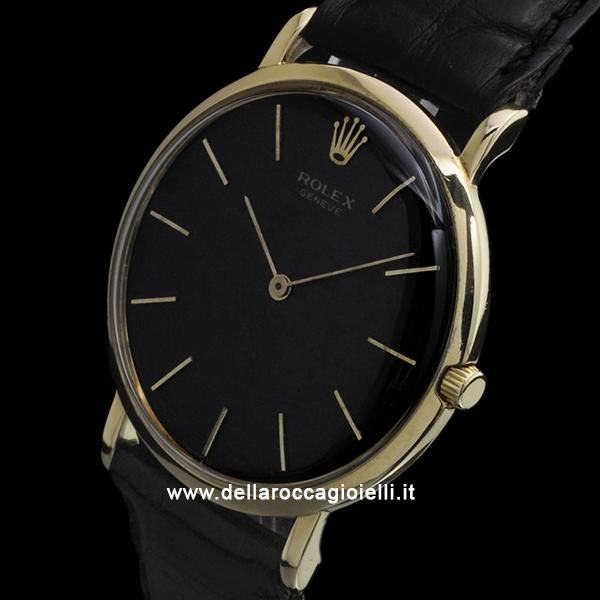 Rolex Geneve Ultra Thin 9576 Gold Watch Black Dial :: Della Rocca ...
