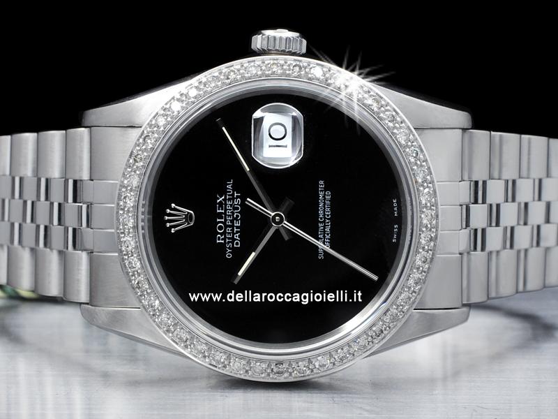 Rolex Datejust 16220 Jubilee Bracelet Black Dial Diamonds