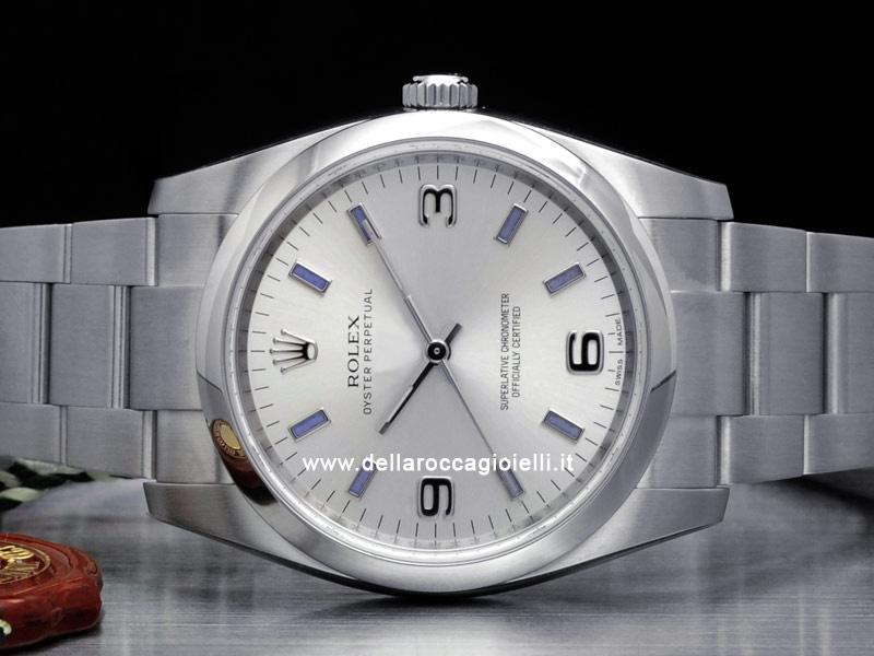 f35c3bbdb8c ... Rolex Oyster Perpetual 34 114200 Oyster Quadrante Argento Arabi 3-6-9  Indici Blu ...