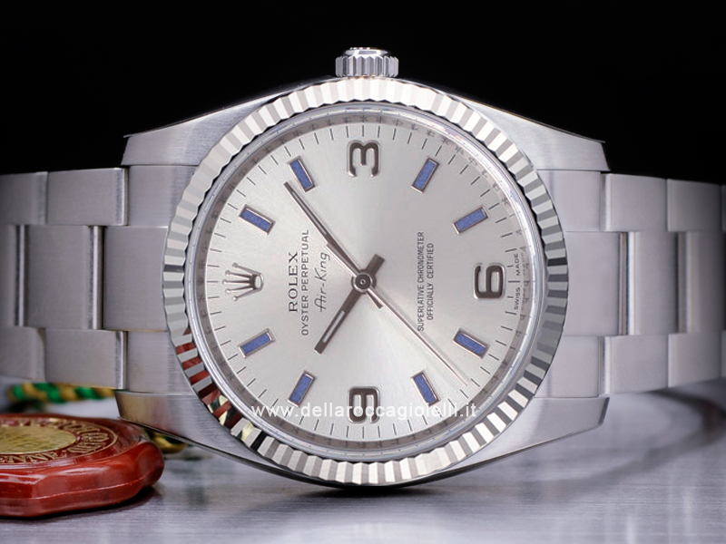 9e8a8b1470a Rolex Air-king 114234 Oyster Quadrante Argento Arabi 3-6-9 Indici Blu ...
