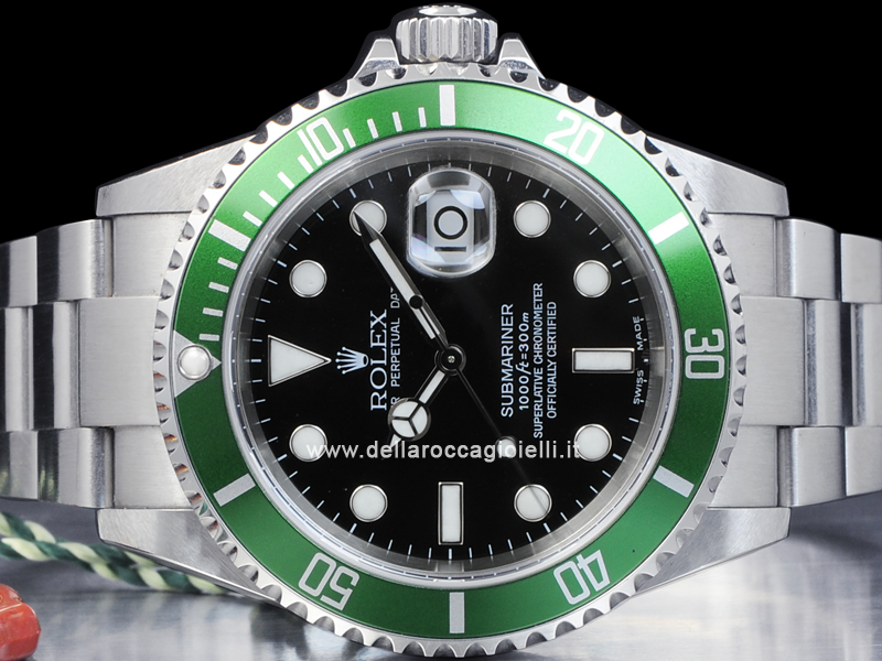 3f9c14c188c Rolex Submariner Data Ghiera Verde 16610LV Fat Four Quadrante Nero ...
