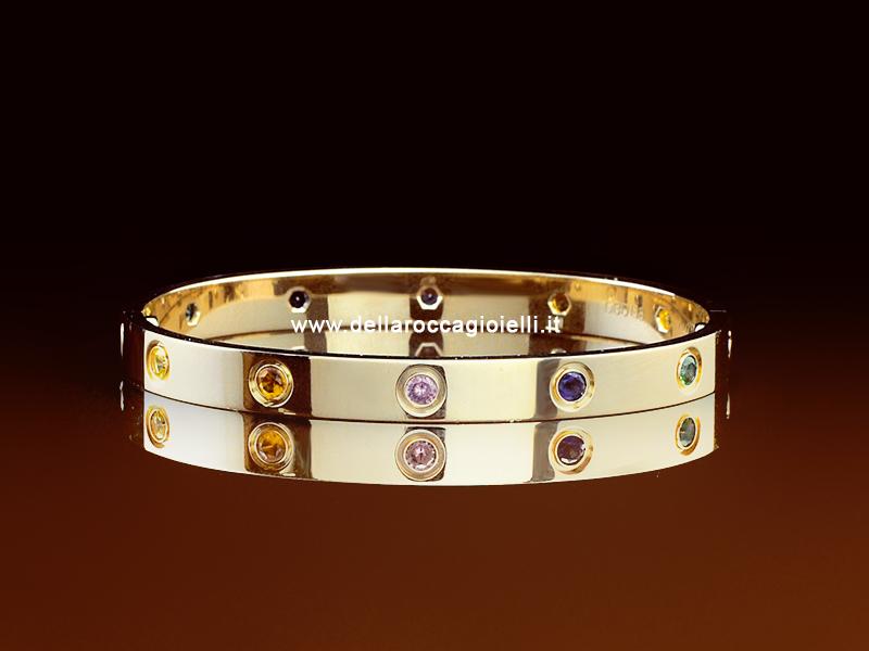 Cartier Bracciale Love Oro Rosa Zaffiri Granati Ametiste