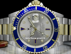 Rolex Submariner Data 16613 Oyster Quadrante Sultan Argento Diamanti Zaffiri