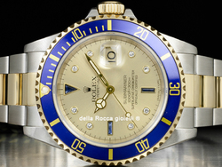 Rolex Submariner Data 16613 Oyster Quadrante Sultan Champagne Diamanti Zaffiri