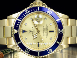 Rolex Submariner Data 16808 Oro Oyster Quadrante Champagne Sultan Diamanti Zaffiri