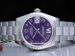 Rolex Datejust Medio Lady 31 178274 Oyster Quadrante Viola Diamanti Ore 6