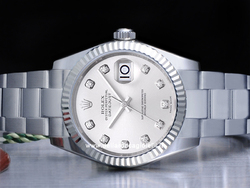 Rolex Datejust Medio Lady 31 178274 Oyster Quadrante Argento Diamanti