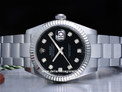 Rolex Datejust Medio Lady 31 178274 Oyster Quadrante Nero Diamanti