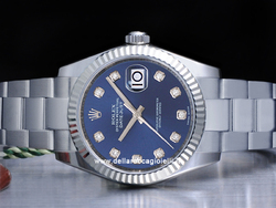 Rolex Datejust Medio Lady 31 178274 Oyster Quadrante Blu Diamanti