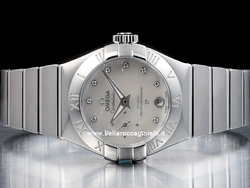 Omega Constellation Omega Petite Seconde Co-Axial 12710272055001 Quadrante Bianco Diamanti