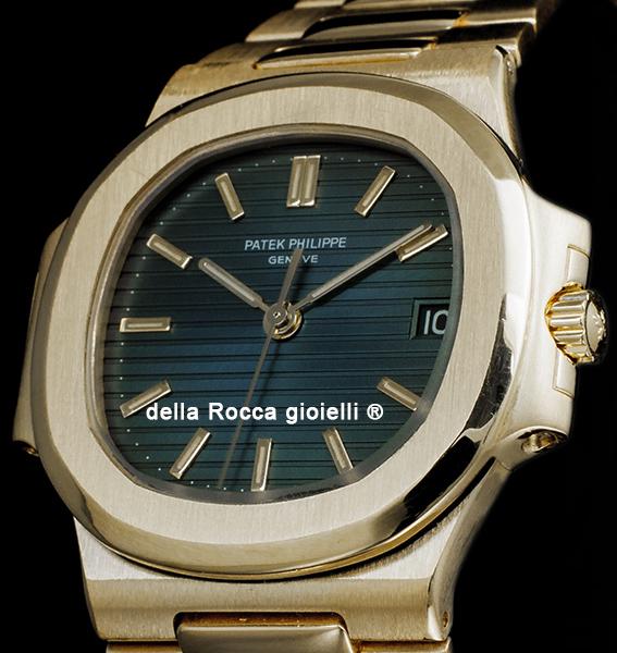 Patek Philippe Nautilus Gold Watch 3800 Blue Dial Della Rocca
