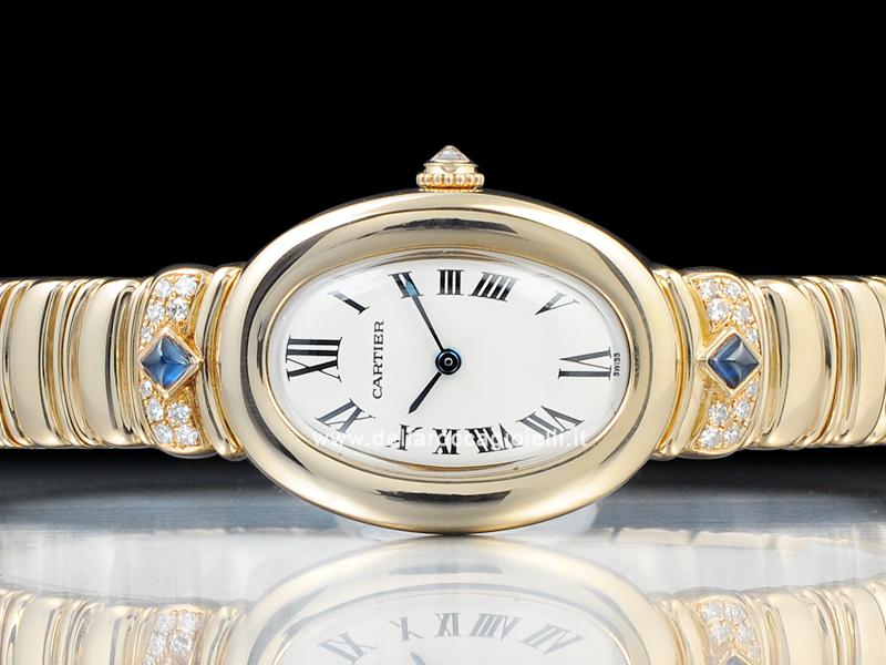 Cartier Baignoire 1920 Casque D Or 1280 Gold White Roman Dial
