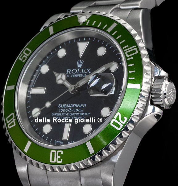 86e553cffd1 Rolex Submariner Date 16610LV 50th Green Bezel Fat Four Mark 1 ...
