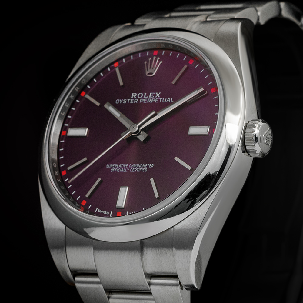 Rolex da donna con quadrante red grape